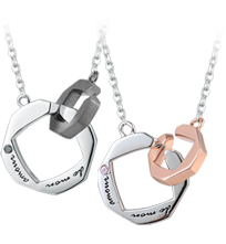 Some believe that lovers are brought together by the hands of fate. The interlocking ring design symbolizes the intimacy of love couples. Send a love message engraved in French and captures every happy and romantic moment. Purchase couple necklace sets in MaBelle eShop , you can now embed warm-hearted message with an unique DIY video card for free!