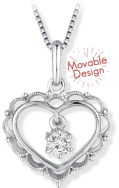【Floridly Aspiration】Heart Diamond Necklace - A classically designed pendant with delicate lace-pattern. Take everyone's breath away when the diamond swings.