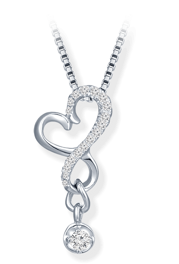 【Melting Heart】Heart Diamond Necklace - Pure and fresh streamline heart-shaped pendant design, under the reflection of sparkling diamonds, interpreting the natural beauty of women perfectly.