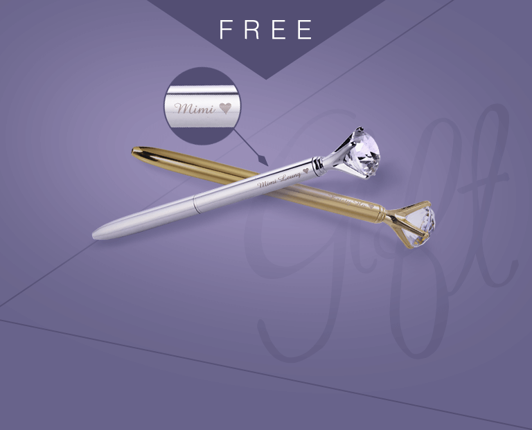 "How to express your feelings to your Mrs. right? Receive a Free ""Personalized Name Engraved Diamond-Shaped Pen"" when you purchase any items in this eShop exclusive gift collection! Create unforgetable memories with this unique presents."