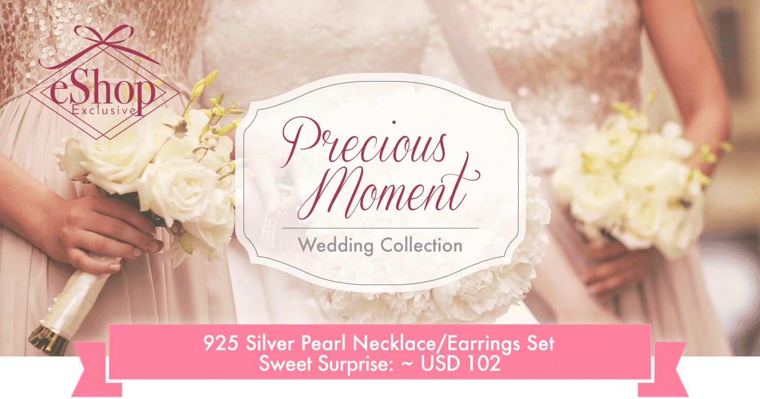 Precious Moment 925 Silver Pearl Neacklace/Earrings Set for Wedding Gift