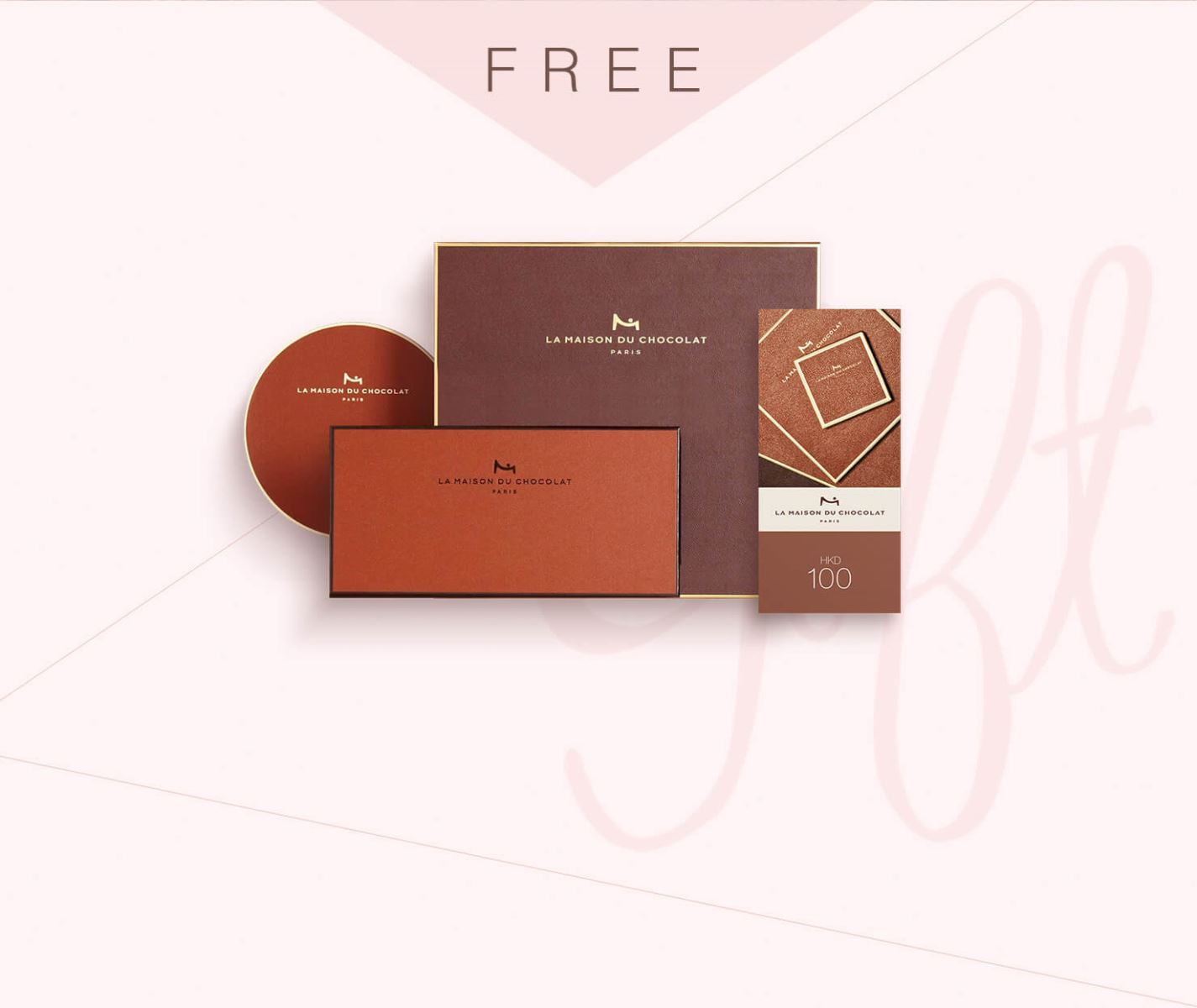 "Looking for a surprise gift? Receive a complimentary 'La Maison du Chocolat HK$100 Gift Voucher"" upon purchase of any item in this Collection! Explore the authentic taste of the French handmade chocolate and enjoy the sensational experience with your beloved one."