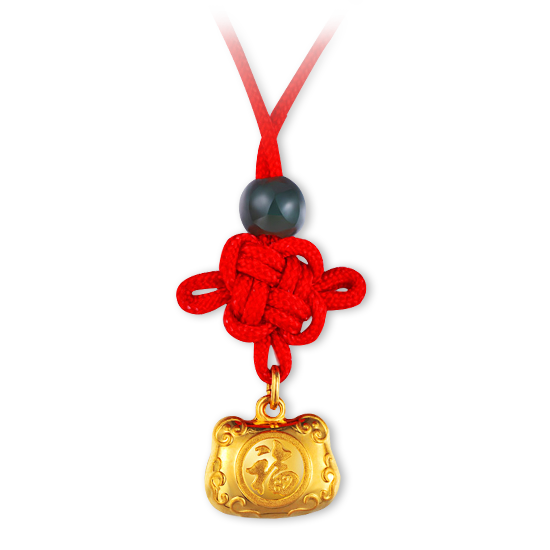 Gold Baby Pendant with Red String