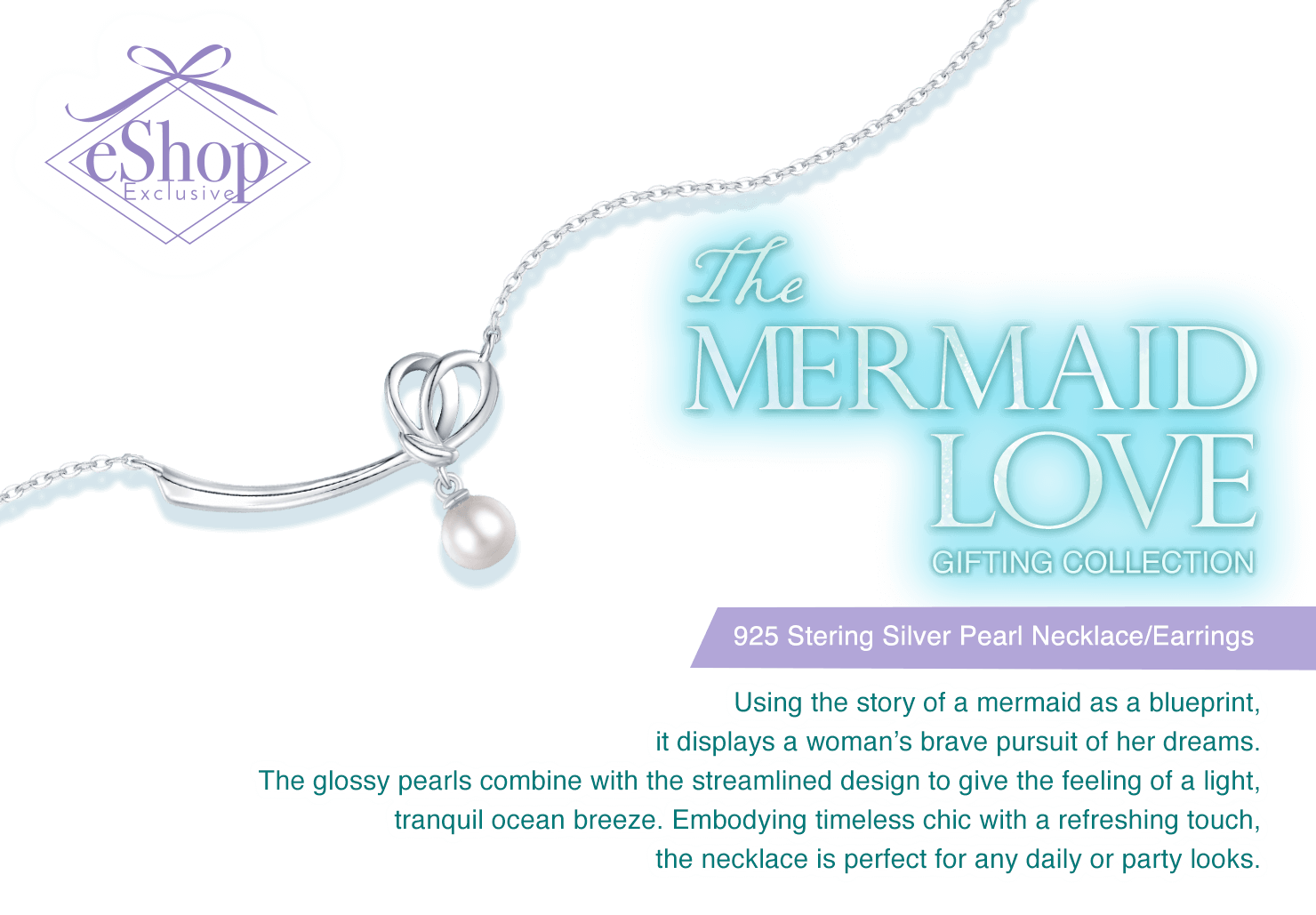 The Mermaid Love Gifting Collection is using the story of a mermaid as a blueprint, it displays a woman's brave pursuit of her dreams.The glossy pearls combine with the streamlined design to give the feeling of a light, tranquil ocean breeze.Embodying timeless chic with a refreshing touch, the necklace is perfect for any daily or party looks.