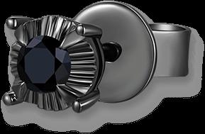 Black Fashion 9K/375 Black Gold Enhanced Black Color Diamond Single Earring