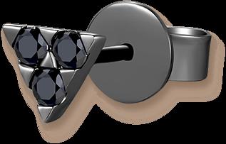 The Triangle 9K/375 Black Gold Enhanced Black Color Diamond Single Earring